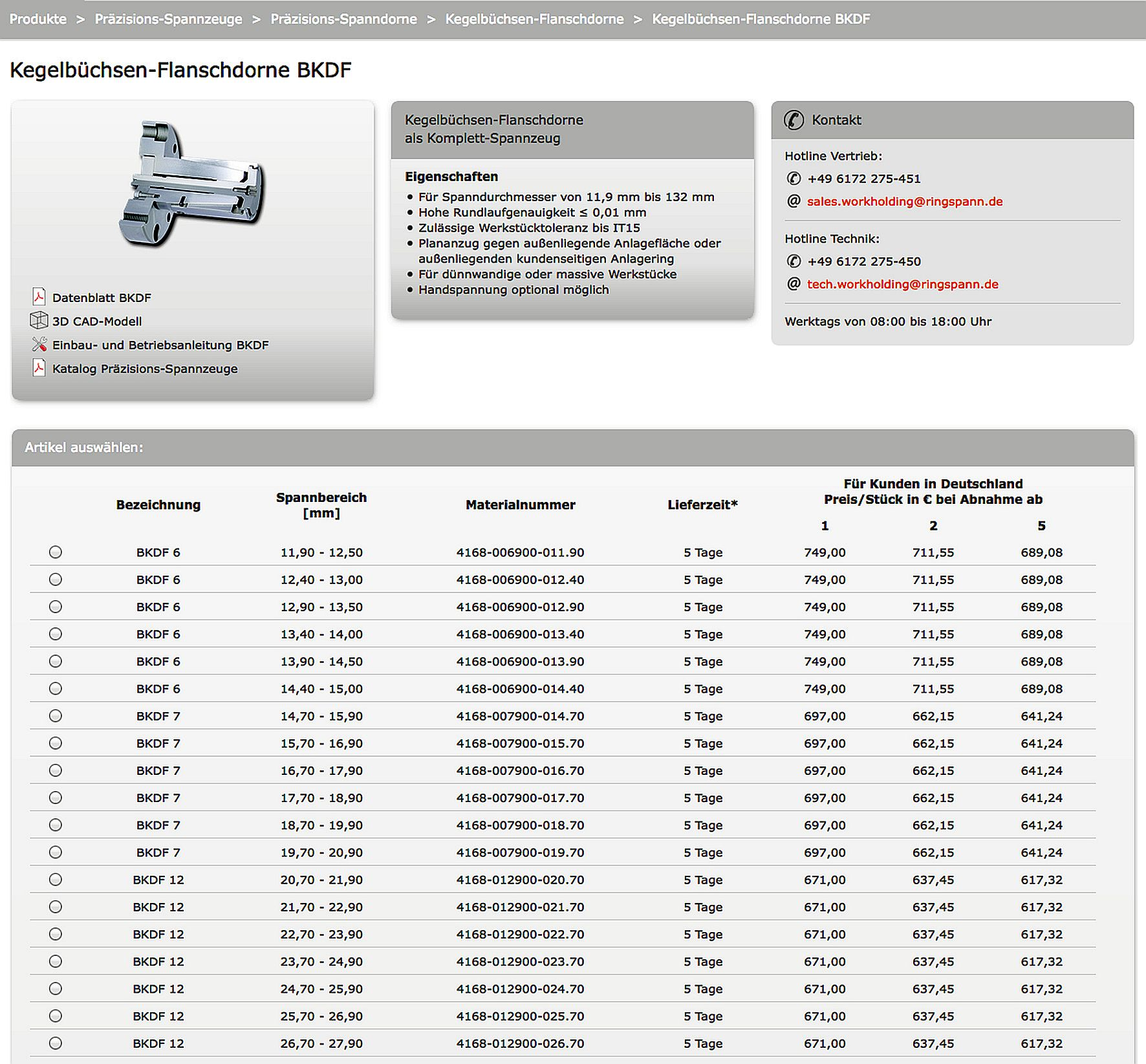 Important product information in the RINGSPANN online shop